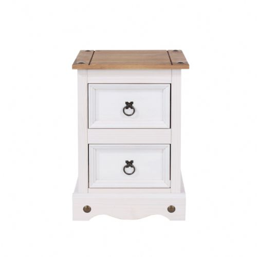 Premium Whitewashed Corona 2 Drawer Petite Bedside